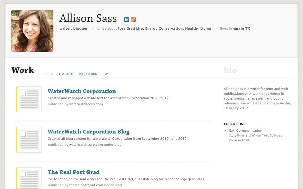 online writing portfolio for students